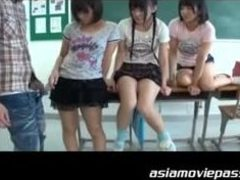 Sex, Group, Handjob, Small tits, Hairy, Schoolgirl, Tits, Asian, Blowjob