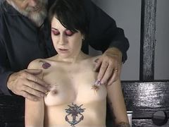 Needle, Young, Brunette, Tattoo, Teen, Bdsm, Tits, Toys, Torture, Sex