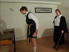 Cute bombshells experience some intense caning