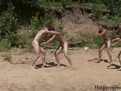 Sweeties achieve the orgasms during the wrestling