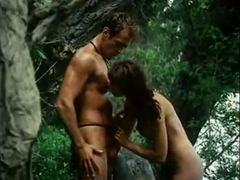 Irresistible girls get on their knees in a jungle
